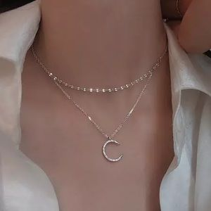 NEW 925 STERLING SILVER DOUBLE LAYER STAR NECKLACE
